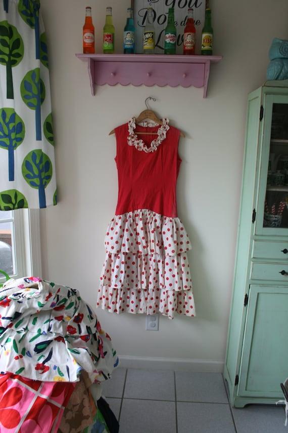 1960s RED POLKA DOTS Dress..mod. red. polka dots.… - image 2