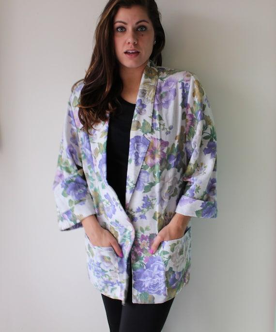 1980s Floral Blazer Jacket...size large. blue. col