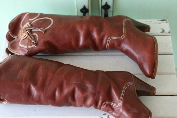 AMAZING 1980s LEATHER Western Cowgirl Boots...siz… - image 3