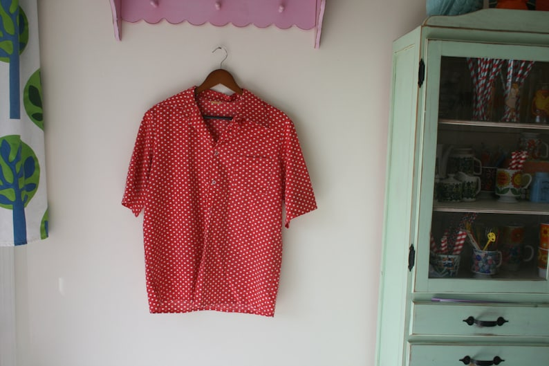 hippie urban 1960s POLKA DOTS Button Top...size medium to large womens....top boho 1980s .1970s red and white hipster i love lucy