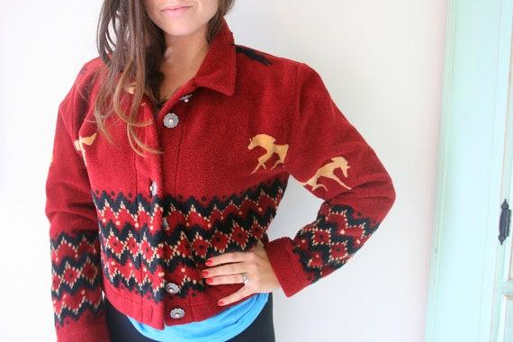 Vintage HORSE Print Boho Slouchy Crop Sweater....s