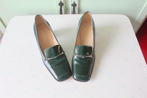 90s Vintage GUCCI Designer Loafer Heels..size 7 w… - image 1