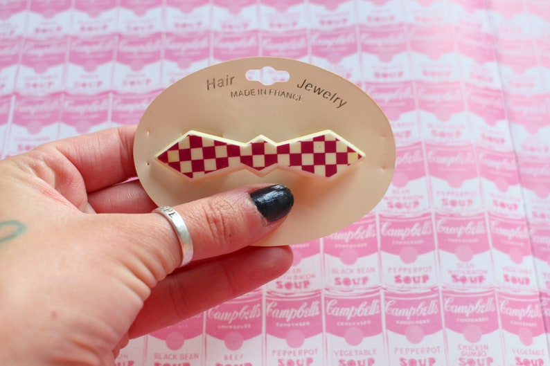retro dainty barette 1980s glam ladies cute party NOS 1980s CHECKERED Hair Bow Clip Barrette.....FRANCE womens accessories sweet