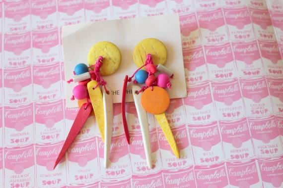 Vintage 1980s WOOD New Old Stock Earrings...stud big mod kitsch huge retro pink folk pierced ears costume jewelry wooden earrings