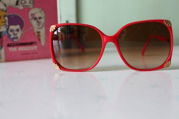 1970s Vintage RED Mod Sunglasses...retro. colorfu… - image 3