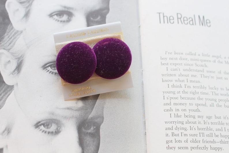 80s glam new old stock 1980s earrings sexy rock geometric pierced ears punk 1980s NOS Purple Stud Earrings....costume