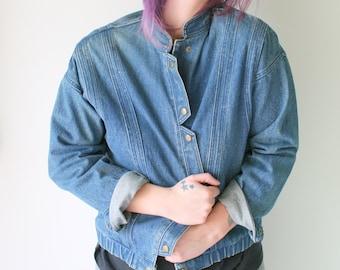 Vintage BLUE JEAN Jacket...grunge. hipster. retro. hippie. dark jean. 80s. 90s. designer. mens. womens. unisex. 90s clothing. rocker. punk haaSm
