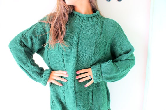 retro nautical rad cardigan bright green hipster 1990s THE LIMITED Green Sweater...size medium...colorful pullover 1980s sweater