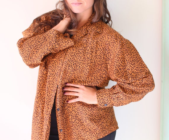 1990s LIMITED Leopard Blouse.retro. hipster. rad.