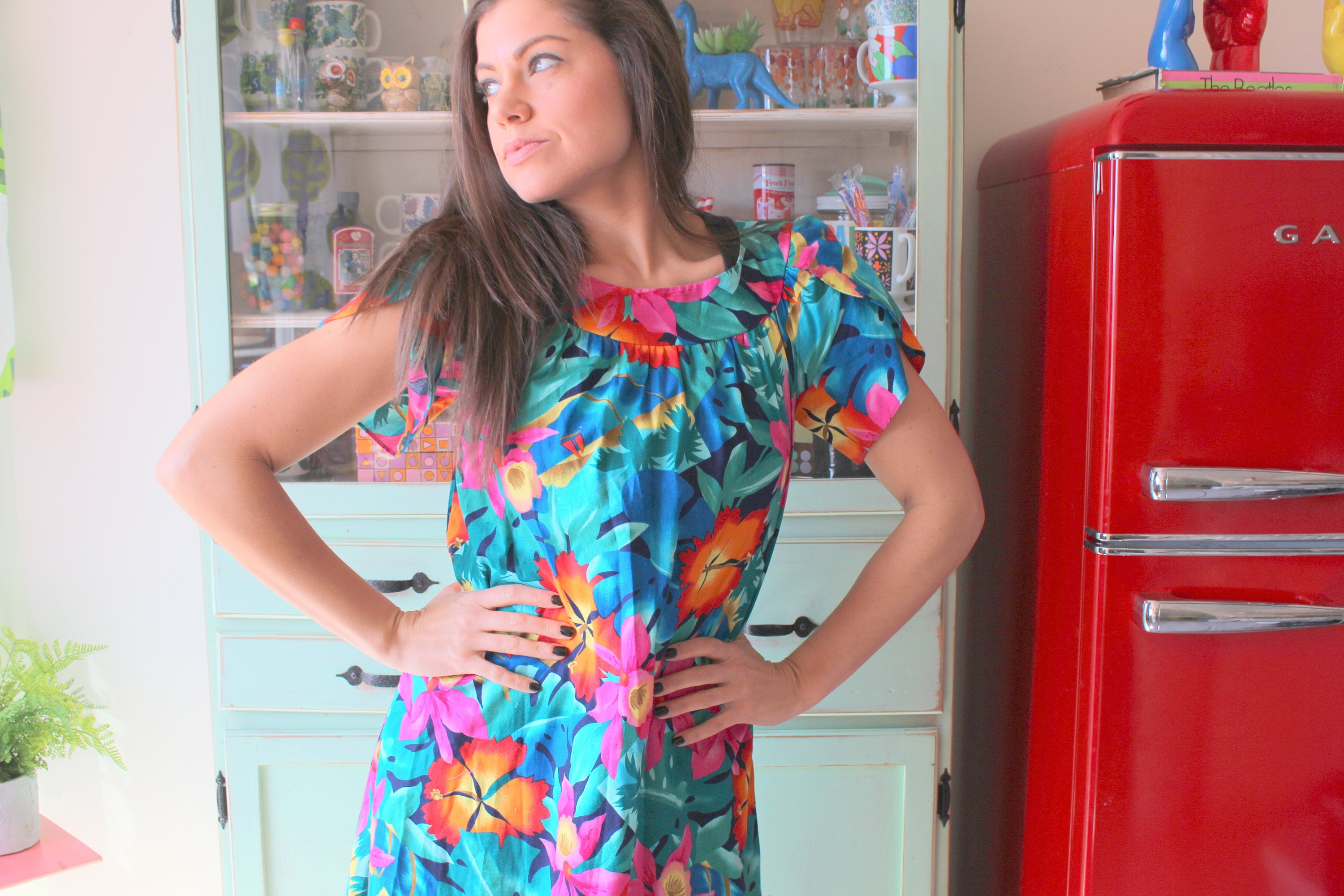 80s Dresses | Casual to Party Dresses 1960S Vintage Hawaiian Frock Dress...size Small Womens....1970S Dress. Floral. Retro. Sundress. Mod. Classic. Maxi. Free Size $24.00 AT vintagedancer.com