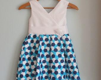 BLUE POLKA DOTS Dream Dress.....size 7 girls....kids. children. polka dots. fancy. princess. cinderella. ball gown. mod. circle.