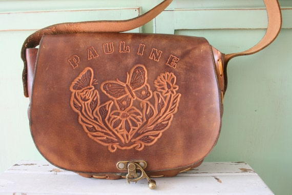 1970s ALL LEATHER Butterfly Flower Hippie Purse...