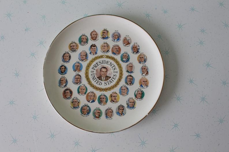 37th president Vintage NIXON Plate..white house serving party retro gold vintage kitchen collectible atomic eat antique. kitsch