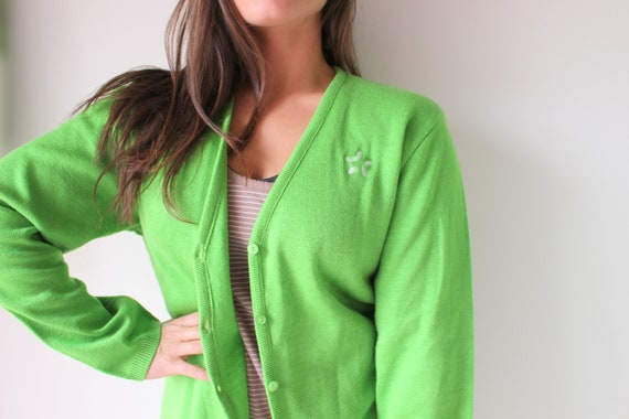 Vintage APPLE GREEN Mid Century Cardigan Sweater..