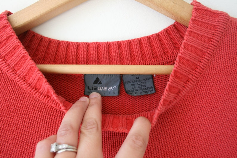 bright hipster cardigan unisex nautical retro rad 1980s sweater pullover 1990s LIZ WEAR Oversized Sweater...size medium..colorful