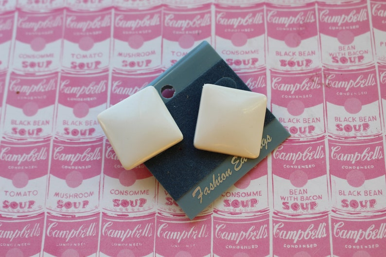 1980s glam square sexy rad new old stock. 1980s WHITE Stud Earrings....big rocker urban indie costume killer 80s hipster punk