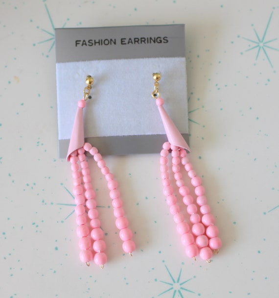indie new old stock. killer 80s hipster 1980s PINK Dangly Earrings....big metal costume rad sexy rocker punk 1980s glam urban