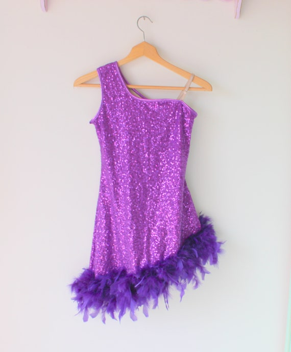 1980s Vintage PURPLE SEQUINS Dress..xsmall small..