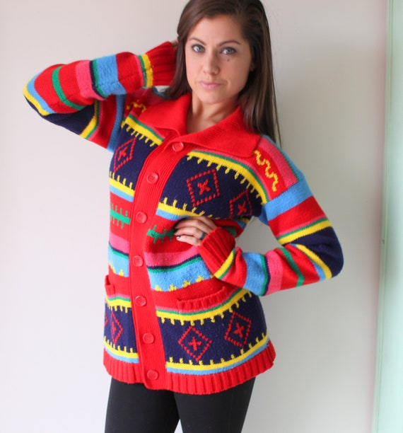80s RAINBOW Sweater...red. colorful. bright. retro