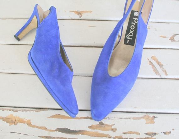 Vintage DESIGNER SUEDE Heels.size 8.5. suede. shoe