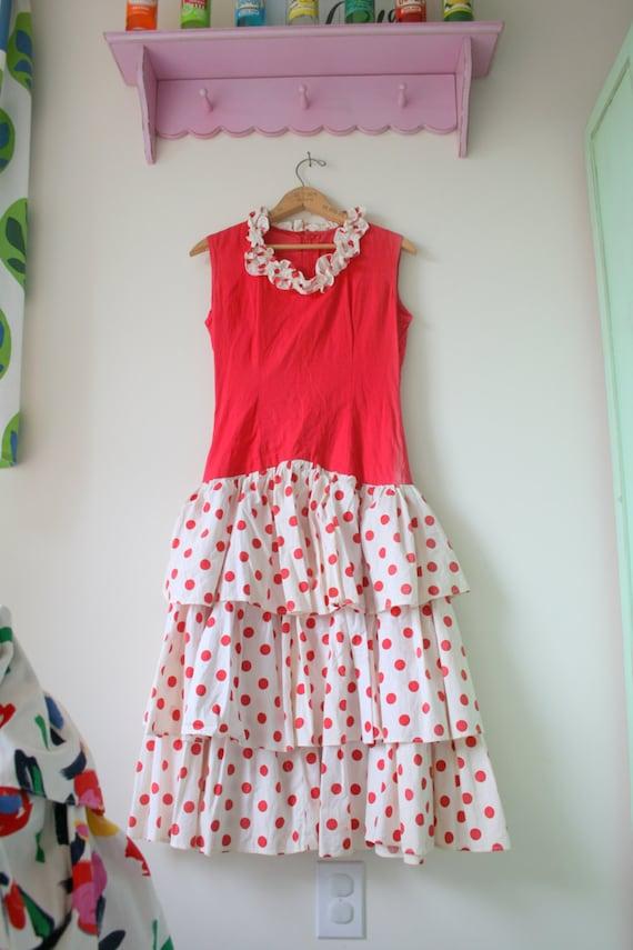 1960s RED POLKA DOTS Dress..mod. red. polka dots.