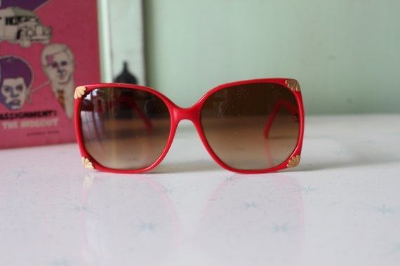1970s Vintage RED Mod Sunglasses...retro. colorfu… - image 2