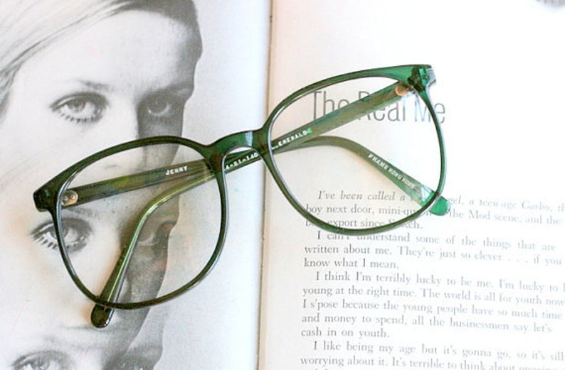 Vintage JACKIE O Glasses....emerald. new old stock. classic. image 1