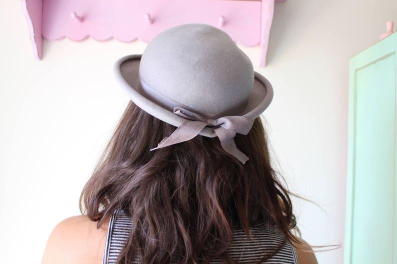 birthday bride cute hat 1950s hat winter hat costume 1960s hat wedding fancy Vintage GRAY Mid Century Hat...church wool