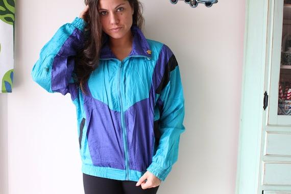 bright retro rainbow BEAN Teal Mesh Jacket...colorful 1980s hipster urban 1980s L.L fun unisex rad womens vest 1990s mens