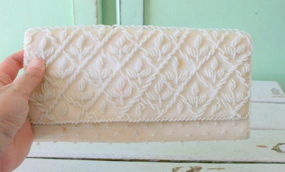 clutch twiggy gogo mod princess beaded wedding. bag 1960s BEADED Fancy Clutch Purse.....glam fancy handbag 1960s change purse