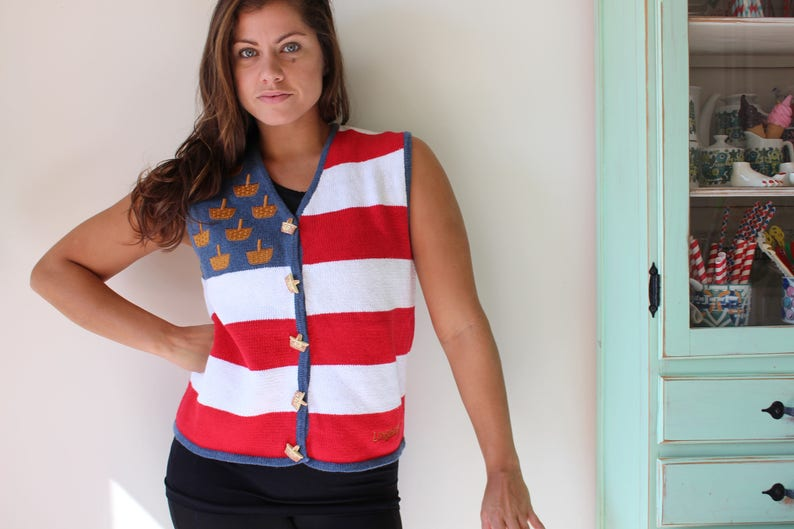 granny sweater costume retro 1980s sweater bright festive holiday red white and blue fun 1980s Basket Country Sweater Vest....red