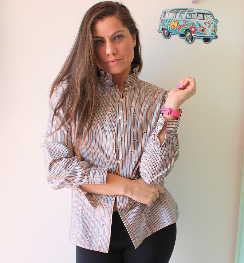 mod vintage blouse soho fancy flowy top urban womens ladies oversized Vintage FLORAL Striped Blouse..womens mad men
