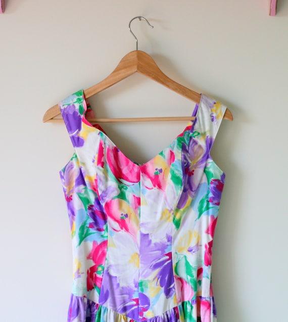 1980s Vintage DREAM FLORAL Garden Party Dress...sm