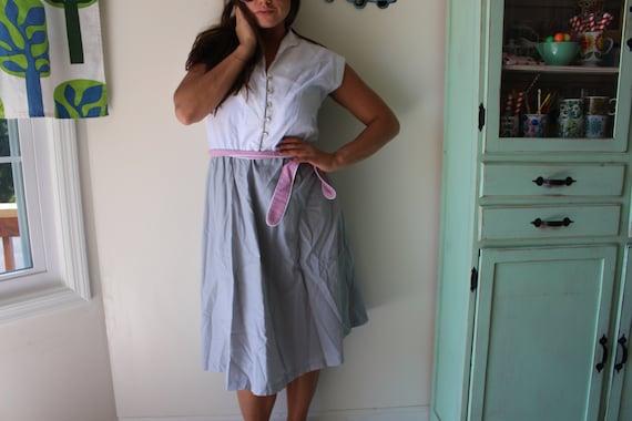 solid casual dress twirl twirl mod 1980s Pink and Gray Dress....size small medium womens...waitress retro ruffled 1980s glam wiggle