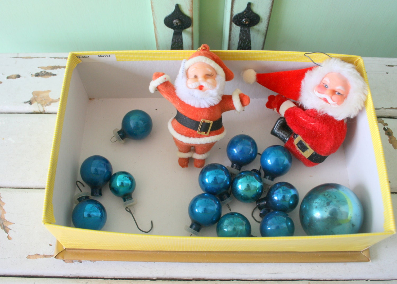 1960s Christmas Ornaments Colorful Rainbow Retro Christmas Tree Fabric Holiday Vintage Velvet Horn Bells Santa Home Decor Balls
