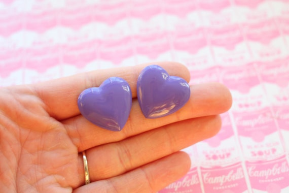 costume valentine hearts pierced ears 1990s BLUE HEART Stud Earrings.....retro women hoops valentine kitsch 1990s glam goth love