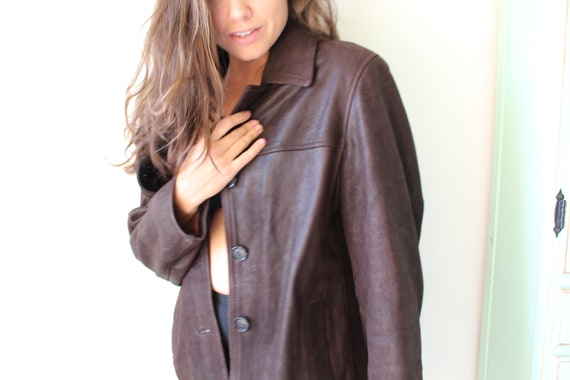 1980s BROWN LEATHER Jacket...size medium. suede. r