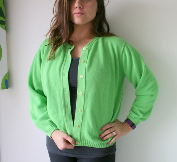 1990s The LIME Green Apple Sweater...size medium..