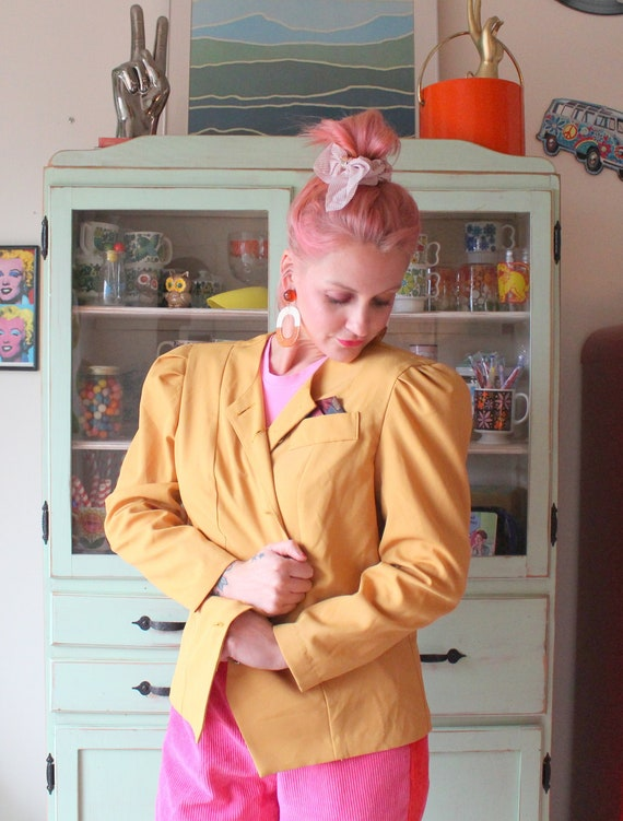 mod 1980s Vintage Brown MUSTARD Jacket...vintage 12 shoulder pads big buttons womens retro made in USA gogo twiggy business kooky