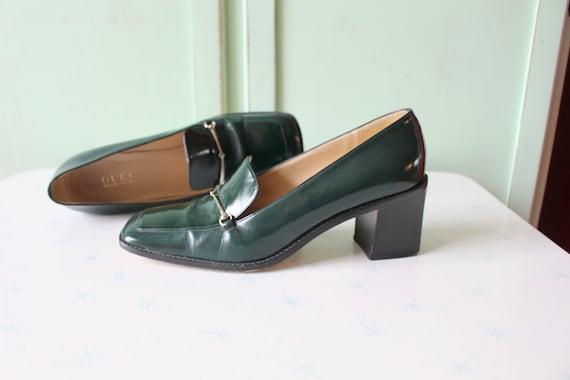 90s Vintage GUCCI Designer Loafer Heels..size 7 w… - image 2
