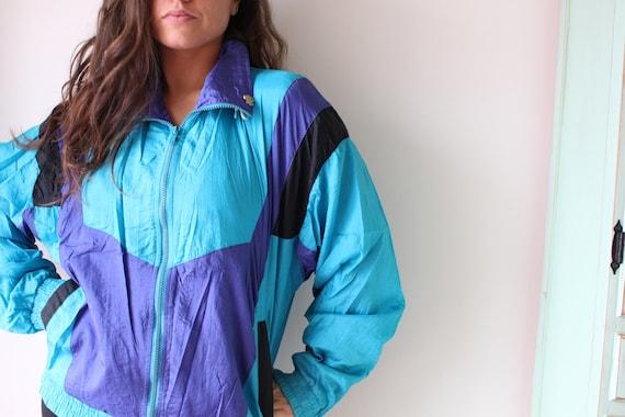fun vest 1990s rainbow 1980s hipster womens BEAN Teal Mesh Jacket...colorful rad 1980s L.L mens bright unisex retro urban