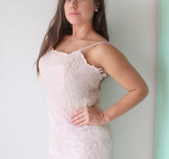 Pure SILK 1980s Vintage PINK SEQUINS Dress...small