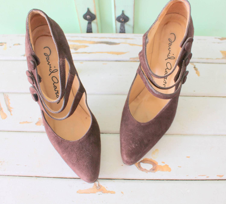 Vintage DESIGNER SUEDE Heels...size strappy 5 womens..heels. pumps. shoes. strappy Heels...size heels. stilettos. retro. mod. designer. suede. fancy. brown heels 7cd83d