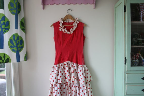 1960s RED POLKA DOTS Dress..mod. red. polka dots.… - image 4