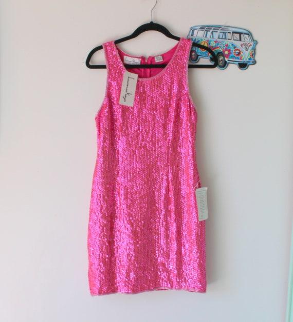 1980s Vintage PINK SEQUINS Dress..small medium..gl