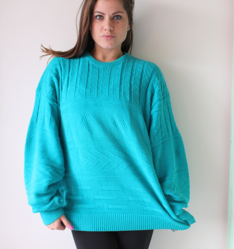 80s glam teal Vintage URBAN Boho Slouchy Crop Sweater....size large xlarge...indie hipster retro blue mod hippie 1970s knit indie