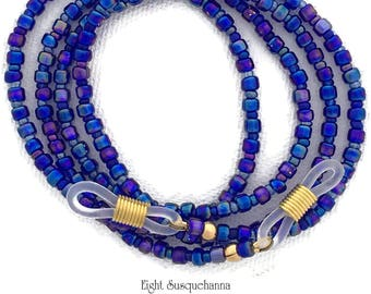 Carnival Glass, Iridescent Cobalt Blue Rainbow Eyeglass Chain, (GL1706)