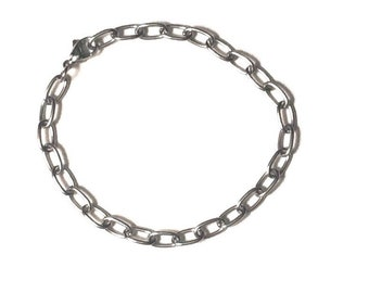 Stainless Steel Chain Bracelet Lead-Free Nickel-Free Oval Links Excellent for Charm Bracelets