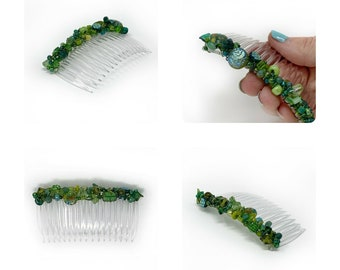 Green Mix Boho Side Comb 82mm CO534