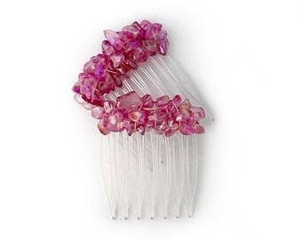 Rose Pink Iridescent Mini-Comb Pair CO307